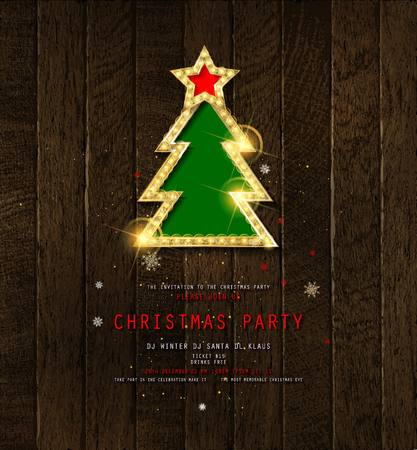 Invitation to Christmas party on wooden background with Golden Christmas tree. Vector illustration 写真素材 - 127633544