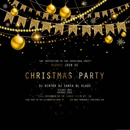 Invitation to Christmas party on black background with tinsel and balls. Vector illustration 写真素材 - 127633545