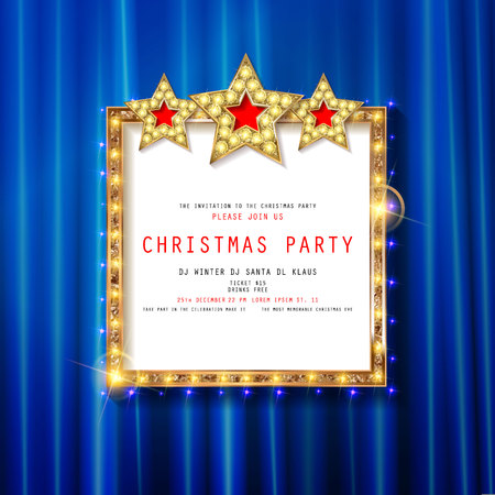 Invitation to Christmas party on curtain background with gold frame in vintage style. Vector illustration 写真素材 - 127633547