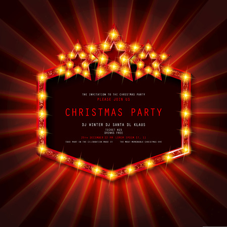 Invitation to Christmas party on curtain background with gold frame in vintage style. Vector illustration 写真素材 - 127633548