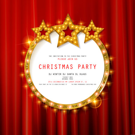 Invitation to Christmas party on curtain background with gold frame in vintage style. Vector illustration Standard-Bild - 127633549