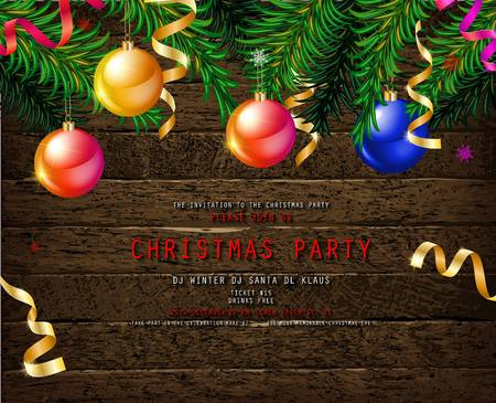 Invitation to Christmas party on wooden background with tinsel and balls. Vector illustration