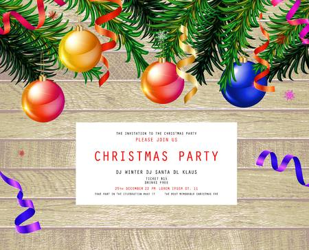 Invitation to Christmas party on wooden background with tinsel and balls. Vector illustration Standard-Bild - 127594357