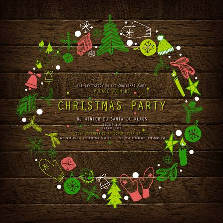 Invitation to Christmas party on wooden background with tinsel and balls. Vector illustration Standard-Bild - 127594358