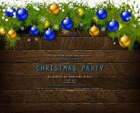 Invitation to Christmas party on wooden background with tinsel and balls. Vector illustration Standard-Bild - 127594359