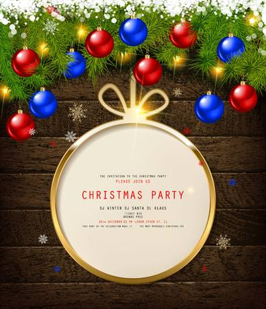 Invitation to Christmas party on wooden background with tinsel and balls. Vector illustration Standard-Bild - 127594360
