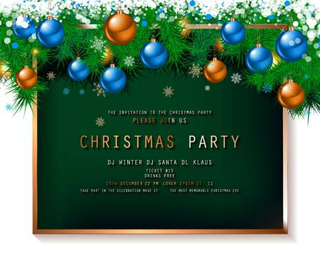 Invitation to Christmas party on dark background with tinsel and balls. Vector illustration  イラスト・ベクター素材