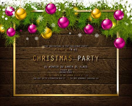 Invitation to Christmas party on wooden background with tinsel and balls. Vector illustration Standard-Bild - 127594362