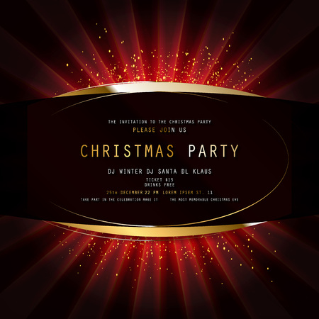 Invitation merry christmas party poster banner and card design template. Happy holiday and new year light theme concept. Vector illustration