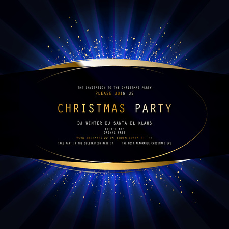 Invitation merry christmas party poster banner and card design template. Happy holiday and new year light theme concept. Vector illustration Standard-Bild - 127594364