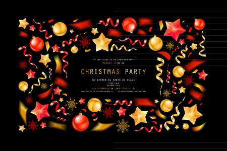 Christmas party or dinner invitation, poster, flyer, greeting card, menu design template. On dark background Vector illustration