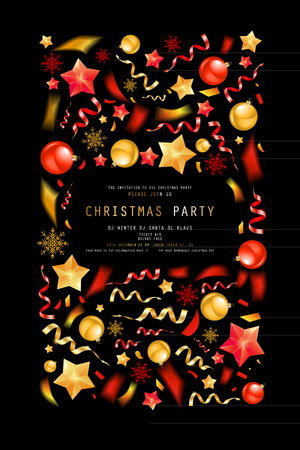 Christmas party or dinner invitation, poster, flyer, greeting card, menu design template. On dark background Vector illustration 写真素材 - 127594366