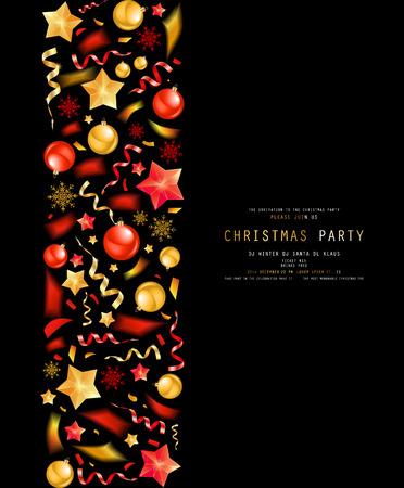 Christmas party or dinner invitation, poster, flyer, greeting card, menu design template. On dark background Vector illustration Standard-Bild - 127594367