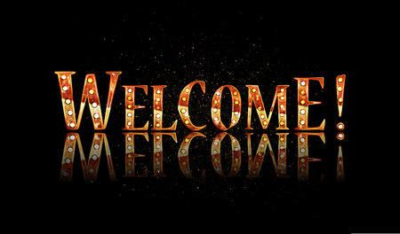 Welcome text lettering calligraphy phrase black white gold. Vector illustration Illustration