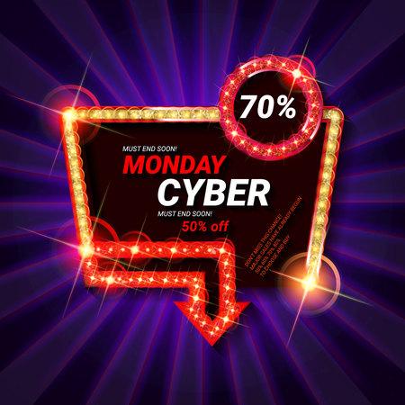 Cyber Monday Sale. Vector illustration Foto de archivo - 117794514