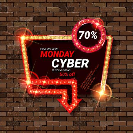 Cyber Monday Sale. Vector illustration. On a brick background Çizim