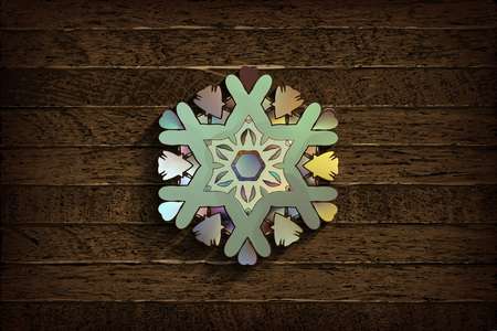 Snowflake on grunge wooden background. Winter holidays concept. Vector illustration