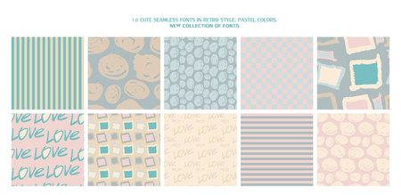 Set of 10 cute patterns. Collection of seamless backgrounds in delicate colors. Vector illustration.