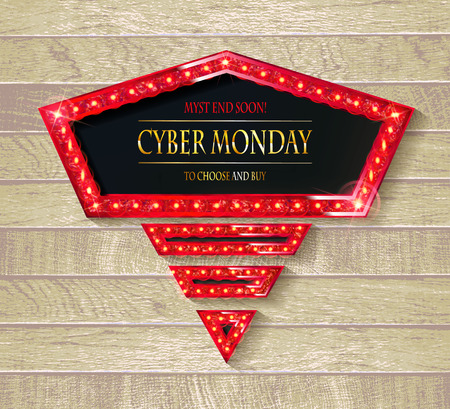 Cyber Monday Sale. Vector illustration. On wooden background