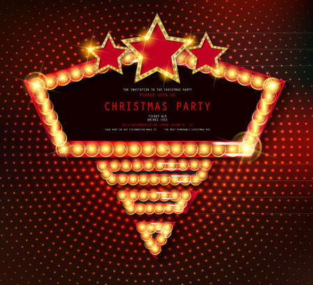 Invitation merry christmas party poster banner and card design template.Happy holiday and new year glass ball theme concept. In the retro cinematic style. Vector illustration