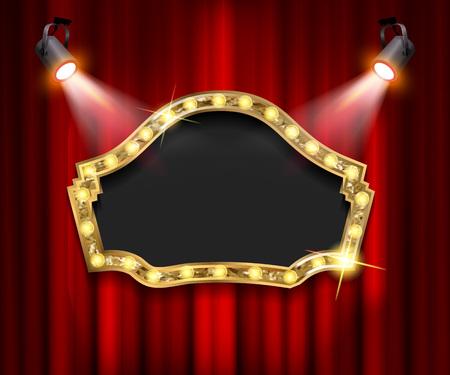 Theater sign on curtain with spotlight. Vector illustration