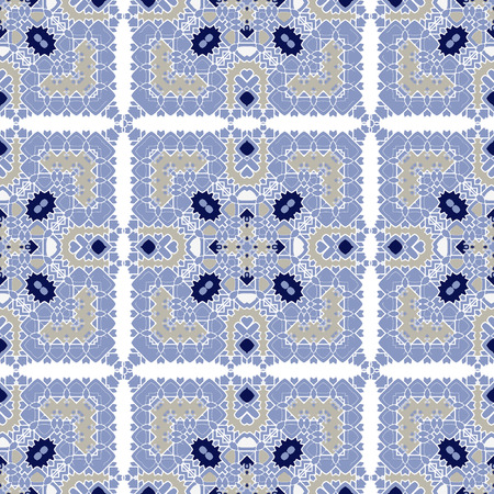 Gorgeous seamless pattern white blue orange Moroccan, Portuguese tiles, Azulejo, ornaments. Can be used for wallpaper, pattern fills, web page background,surface textures. Vector illustration 版權商用圖片 - 127220493