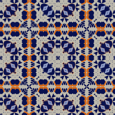 Gorgeous seamless pattern white blue orange Moroccan, Portuguese tiles, Azulejo, ornaments. Can be used for wallpaper, pattern fills, web page background,surface textures. Vector illustration