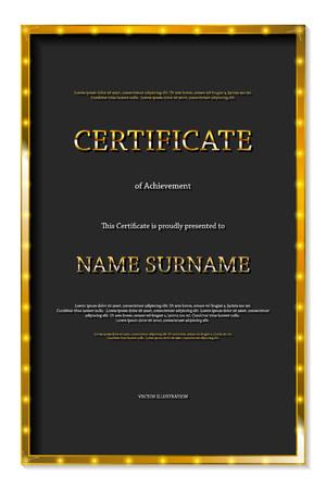 Luxury certificate or diploma template. Vector illustration. Vertical format Vektoros illusztráció