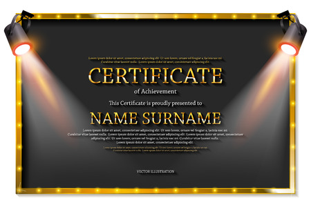 Luxury certificate with spotlights or diploma template. Vector illustration