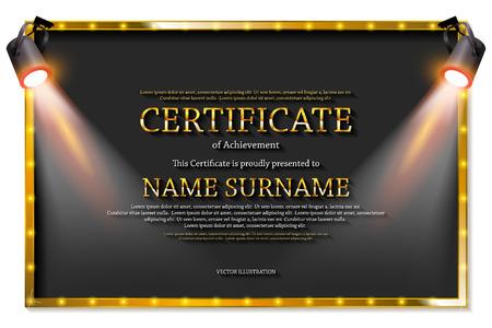 Luxuszertifikat mit Scheinwerfern oder Diplomvorlage. Vektor-Illustration
