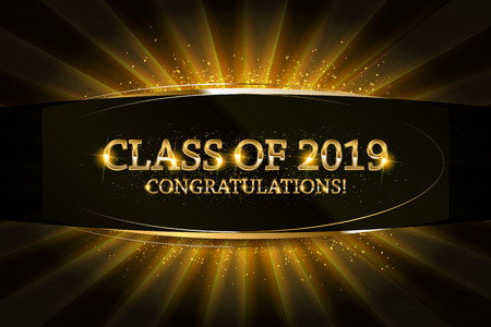 Class of 2019 Congratulations Graduates gold text with golden ribbons on dark background. 矢量图像