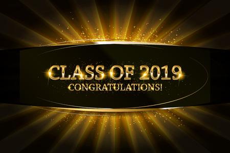 Classe del 2019 Congratulazioni Laureati testo oro con nastri dorati su sfondo scuro. Vettoriali