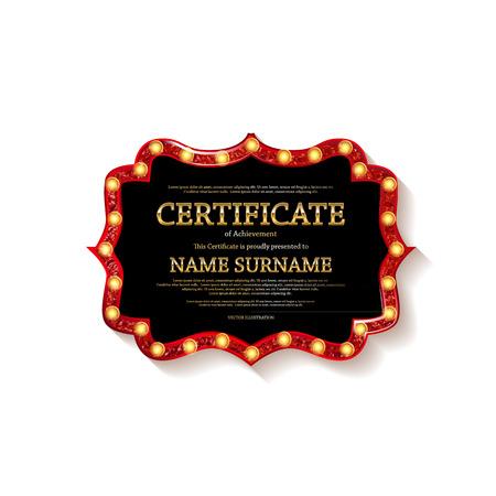 Zertifikat Abschlusszeugnis. Dunkle Vorlage. Nützliche Tat, Anerkennungsurkunde, Leistung, Abschluss, Exzellenz, Anwesenheitsdesign, Auszeichnung Vektorillustration Vektorgrafik