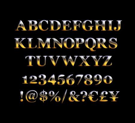 Set di lettere dell'alfabeto, numeri e simboli di punteggiatura. Carattere dorato di qualità premium. Illustrazione vettoriale Vettoriali