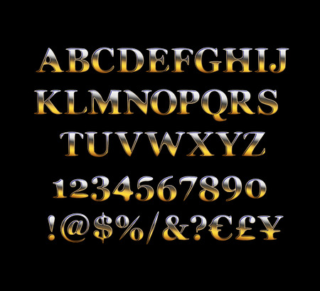 Set of alphabet letters, numbers and punctuation symbols. Premium quality gold font. Vector illustration Vetores
