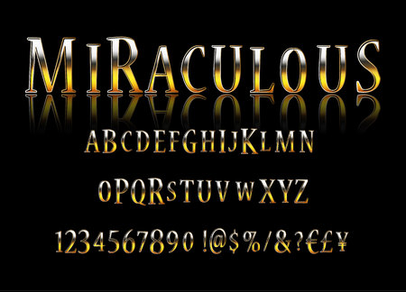 Vector stylish Sign Magic Show. Chic thin Font. Luxury Alphabet Letters, Numbers and Symbols. Vector illustration Ilustrace