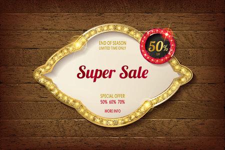 Big discount frame on wooden background. Vector illustration