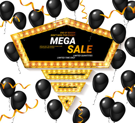 Special offer celebrate background with black and gold air balloons. Super sale. Realistic vector stock design for shop and sale banners, grand opening, party flyer. Vector illustration