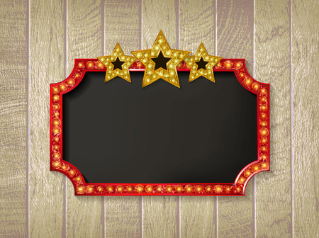 Theater sign or cinema on wooden background. Gold retro signboard. With three Golden glowing stars. Vector illustration Illustration