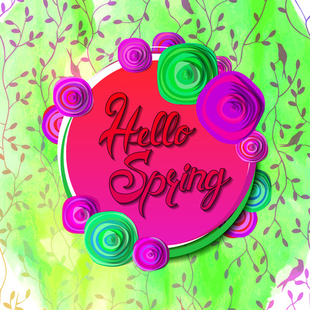 Hello spring banner. Watercolor texture. Season vocation, weekend, holiday logo. Spring Time Wallpaper. Happy spring Day. Spring vector Lettering text. Fashionable styling. Vector illustration Banque d'images - 125340677