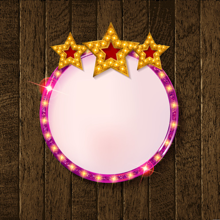 Round blank cinema with three stars. On a old wooden background. Vector illustration Ilustrace