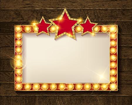 Retro light sign. Vintage style banner. Rectangular horizontal With gold stars. Vector illustration