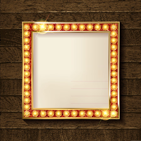 Square glowing frame on on wooden background in retro style. Vector illustration
