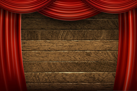 Red curtains on wooden background. Vector illustration