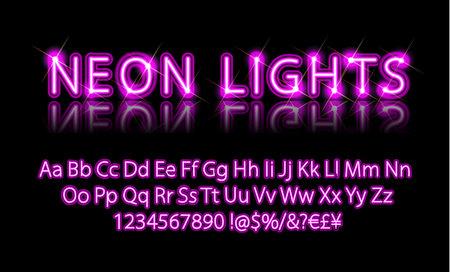Neonlichter. Helle Neon-Alphabet-Buchstaben, Zahlen und Symbole melden sich im Vektor an. Nachtshow. Nachtclub.