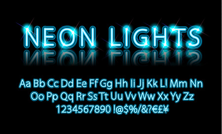 Neon lights. Bright Neon Alphabet Letters, Numbers and Symbols Sign in Vector. Night Show. Night Club. Ilustrace