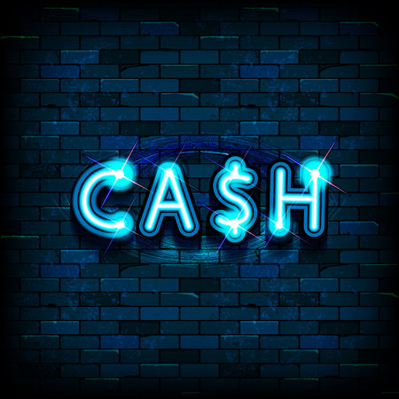 Cash neon text. Finance, banking, money design. Night bright neon sign, colorful billboard, light banner. Vector illustration in neon style.