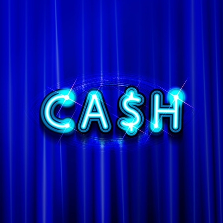 Neon sign cash is on the background of the curtain. Vector illustration