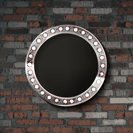Round silver frame on old brick background. Vector illustration