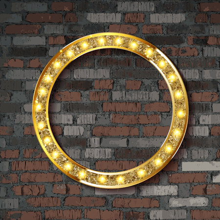 Vector Marquee light circle board sign on brick wall background